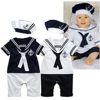 Wholesale BABY BOYS SAILOR WHITE NAVY ROMPER WITH HAT SUIT GROW SUMMER OUTFIT SETS M