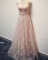 beautiful samples - Beautiful Lace Real Samples Evening Dresses Scoop Neck Sleeveless Floor Length Beading Belt A line Formal Prom Dresses Bridal Gowns LA