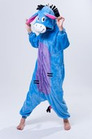 Wholesale 2015 New Flannel Eeyore Donkey Cosplay Costume Anime Onesie Jumpsuit Animal Pajamas for Adults