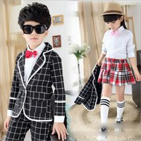 american male models - 2015 Male and Female Girls and Boys Wind Academic Models Fall Clothing School Students Plaid Long sleeved Suit Children s Clothing Uniforms