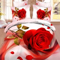 Wholesale 3D Lllusion Red Rose Comforters Bedding Sets Queen King Size Cotton Quilt Duvet Cover Flat Fitted Bed Sheet Pillowcase