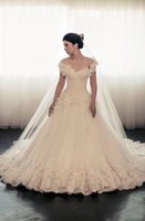 Wholesale Empire Off Shoulder Lace Wedding Dress Maison Yeya V Neck Hand Made Chapel Train Bridal Dress Get a Veil Petticoat Glove