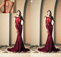 Wholesale Red Long Lace Ziad Nakad Evening Dresses Robe De Soiree Elegant Beaded Sequin Mermaid Evening Gowns Arabic Special Occasion Dress