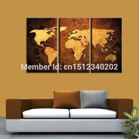 Cheap Hand made World Map Oil Painting on Canvas 3 Panels Modern Abstract Wall Art on canvas Map Pictures Sets free shipping T3p1