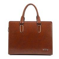 Wholesale 2016 High quality leather Shoulder leisure men s bag business messenger portable briefcase large Handbag Freeshipping