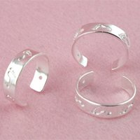 ring size 4 - sterling silver Rings lovely Footprint adjustable size cuff finger toe ring for Women TR010