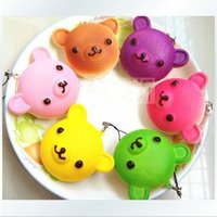 squishies - 30pcs cm Kawaii rare Rilakkuma Squishies Bag Charm Keychain for Phone Rare Squishy Bread Mobile Phone Straps mix color order