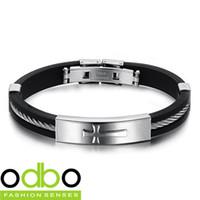 achat en gros de croix bracelets en silicone unisexe-Acheter des produits de gros et de plus de 10 $ (produit de mélange), livraison gratuite, nouvelle série de bijoux en silicone de style Patterns Croix Unisexe Bracelet TY-PH914S