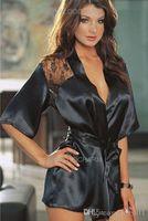 Wholesale Women Sexy Satin Lace Lingerie Nightdress Robe Sleepwear Nightwear Fit S M L XL