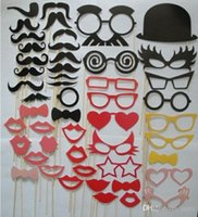 Wholesale Party wedding photography Photo Booth Prop Trendy Mustache Eye Glasses Lips on a Stick Mask