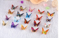 Wholesale PVC Beauty Butterfly Fridge Magnets Home Garden Decoration Animal Butterflies Plastic refrigerator magnets bag D3648