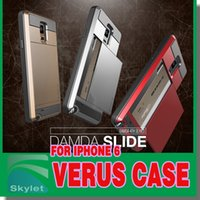 For Apple iPhone cases - Verus For Iphone S Galaxy S6 edge Plus Slide case S6 Plus Hybrid VERUS For iPhone Plus Card Slot Wallet ID back cover shell For Galaxy S5