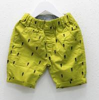 al por mayor marina de guerra de los niños cortos-Casual Short Pant del bebé Ropa Shorts niños Pantalones del bebé niños del verano Algodón Rayo Pantalones Armada Verde J4959 Amarillo