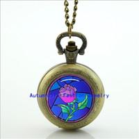 beauty watch photos - Rose Pocket Watch Necklace Beauty and the Beast Photo Locket Necklace Silver Antique Pocket Watch Necklace WT