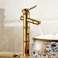 bamboo bathroom vanity - Golden Brass Waterfall Bathroom Bamboo Faucet Single Handle Vanity Mixer Tap G1041