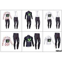 Wholesale Long Bib Movistar - new style summer Movistar Winter Thermal Fleece Cycling Jersey Long Sleeve and Cycling (bib) Movistar Pants Free shipping