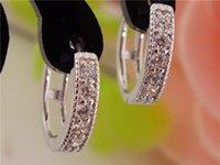 Wholesale 2016 New pair sterling silver womens Clear Shining CZ Zircon Pretty hoop earrings