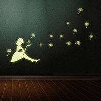 Wholesale The Dandelion Girl Luminous Sticker for Living Room and Bedroom Home Decoration Wall Sticker HDE_005