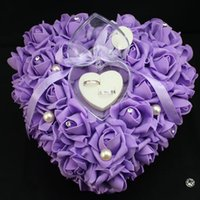 Wholesale Colorful Purple Crystals Pearl Bridal Ring Pillow Organza Satin Lace Bearer Flower Rose Pillows Bridal Supplies Beaded Wedding Favors Box