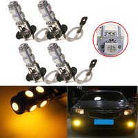 Cheap 4x H3 9 SMD 5050 Car LED Fog Headlight Daytime Driving Light Lamp Bulb Amber Yellow DC12V Free Shipping order<$18no track