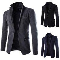 Wholesale Korean Men Jacket Coat Slim Winter Coat Mens Long Coat Lapel Single Breasted Pea Casual Wool Blend Warm Outwear Trench Coats Outwear For Men
