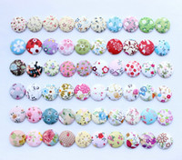 Wholesale 100pcs pack Multi Colors Fabric cover Buttons Floral Check Polka dot Striple mm assorted button