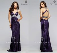 Wholesale Dresses Prom paseo FAVIANA Halter Sexy Open Back Eggplant Sequined With Crystal Beaded Mermaid Cocktial Party Evening Gowns