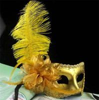 white masquerade masks - Women Girls Ostrich Feather Mask Crystal Diamond Lace Mask Venetian Mask Masquerade Masks Mardi Gras Masks Party Masks