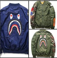 camouflage jacket - NEW best b ape hip hop men jacket embroidery shark windbreaker baseball camo camouflage military sport outwear badge down coat