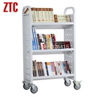 Wholesale Steel three layers library book cart on wheels library book truck with slant shelves office archives utility trolley
