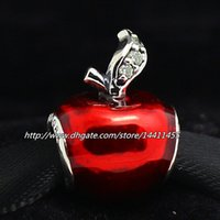 Wholesale High quality Sterling Silver Snow White Apple Charm with Red Enamel Fits European Pandora Jewelry Bracelets Necklaces