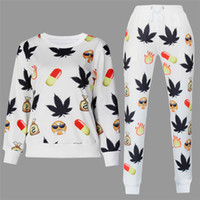 Wholesale 2015 Hot Emoji Joggers Tracksuits Hoddies Pants D Maple Leaves Print Outfit Women Emoji Joggers Sportswear Clothing H10