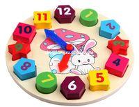 al por mayor reloj digital de la geometría-Los niños juguetes educativos juguetes de bloques de madera Digital Geometría reloj bebé niña regalo ladrillos bloques