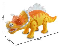 Wholesale Flashing And Sounding Toy Dinosaur Dragon Jurassic Park Electronic Dinosaur Pet Flashing Sound Walking Triceratops Dinosaur Toys CM Big