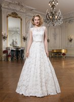Wholesale Custom Made Empire Wedding Dress Lace Sheer Neckline Cathedral Train Bridal Wedding Dress Gown NO r