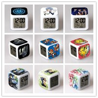 Wholesale 2015 Hot Personality D cartoon Minecraft Alarm Clock Digital Desk Table LED Night Light Glowing