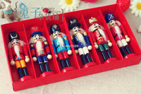 Wood band dolls - 6pcs Nutcracker Puppet Zakka Creative Desktop Decoration cm Wood Made Christmas Ornaments Drawing Walnuts Soldiers Band Dolls
