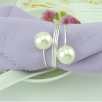 aluminum napkin rings - 50pcs Elegant White Pearl Silver Napkin Rings For Wedding Party Reception Table Decorations Supplies
