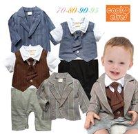 Cheap Spring Autumn Baby Romper Set Gentleman Tie Romper + Suit Coat 2pcs Toddler Boy Casual Suit Child Jumpsuits 70-95 0-3Age Kids Wear TR78