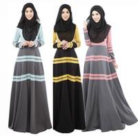 Wholesale Korea hemp abaya arab clothing new female Muslim dress robes Islam Long sleeved robe week maxi dress M L