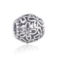 cheap pandora bracelet beads - 10pcs cheap sterling silver Openwork Wildflower charms beads fit European charm bracelets for pandora style jewelry No50 LW153
