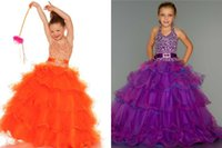 ball j - Adorable cute Halter Sweetheart Neckline Girl s Pageant Dresses Sequin Bodice with Dropped Waist Ribbon Belt Cascading Ruffles J