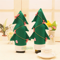 Wholesale Mance PC Christmas Tree Shape Wine Bottle Cover Christmas Gift New Christmas Wine Bottle Cover Home Party Decorations free ship