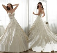 ball dress uk - 2016 Spring Sophia Wedding Dresses UK Sweetheart Sleeveless Backless Appliques Lace Beaded Satin Ball Gown Wedding Dress
