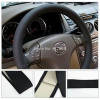 Wholesale 1pcs car steering wheel cover Black DIY With Needles and Thread Genuine Artificial leather Drop Shipping