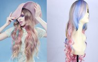 Cheap Hot 5pic Multicolor Long volume wigs Waves personality color hair mainstream Japanese anime wigs Party Hair heat resistant wig by DHL