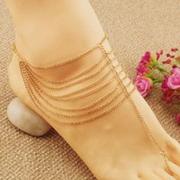 Wholesale New Beach Fashion Multi Tassel Toe Bracelet Chain Link Foot Jewelry Anklet L10198 order lt no tracking