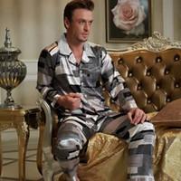 Wholesale 2015 male silk satin Pajamas brand tops Nightgowns Multicolor Set plus size shirt pants