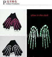 Wholesale new luminous touch screen gloves with hand Skeleton glow in the dark capacitive touch screens for mobile phone ipad gvniy8gk