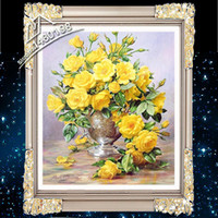 embroidery hoops - 2015 New Yellow Flor Knitted Needle D Three dimensional Embroidery Kit DIY Diamond Embroidery Hoop Size CM